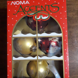 Noma Accents Tree Ornaments Red and Gold Bulbs